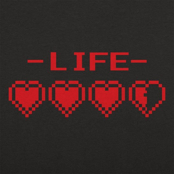 The word LIFE above 3 and a half 8 bit hearts