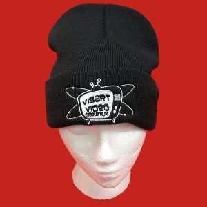 Black knit toboggan embroidered with VisArt logo
