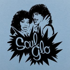 Stylized african american couple with afros and the words Soul Glo