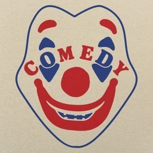 Clown mask in blue and red with the word COMEDY across the face