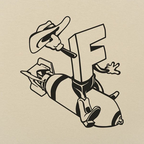 Capital letter F waving a cowboy hat while riding a bomb
