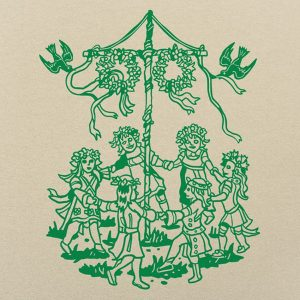 Stylized line drawing of young girls dancing around a maypole
