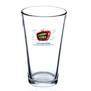 Clear pint glass with Visart logo