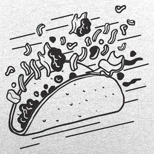 stylized line drawing of a flying taco contents popping out